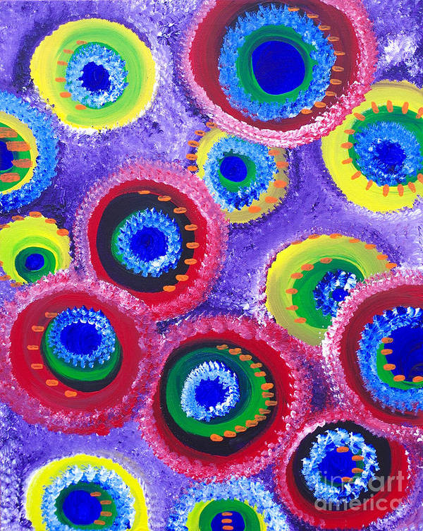 Abstract Art Poster featuring the painting Fuzzy Purple Circles by Laura Kiro
