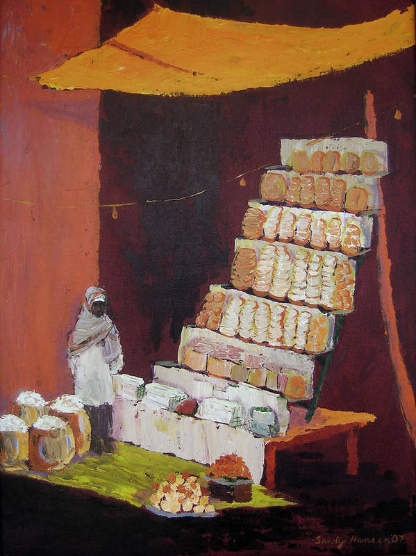 Cityscape Poster featuring the painting Gajak Sweet Shop by Art Nomad Sandra Hansen
