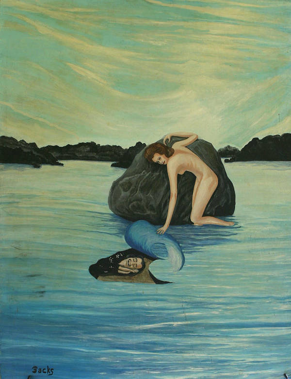 Surreal Poster featuring the painting Gala Finds Salvador Sleeping Under The Sea by Georgette Backs