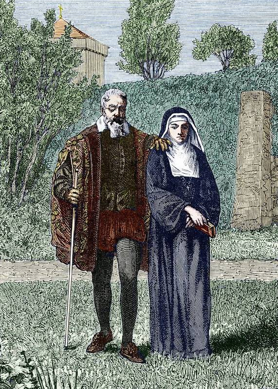 Virginia Gamba Poster featuring the photograph Galileo And His Daughter Maria Celeste by Sheila Terry
