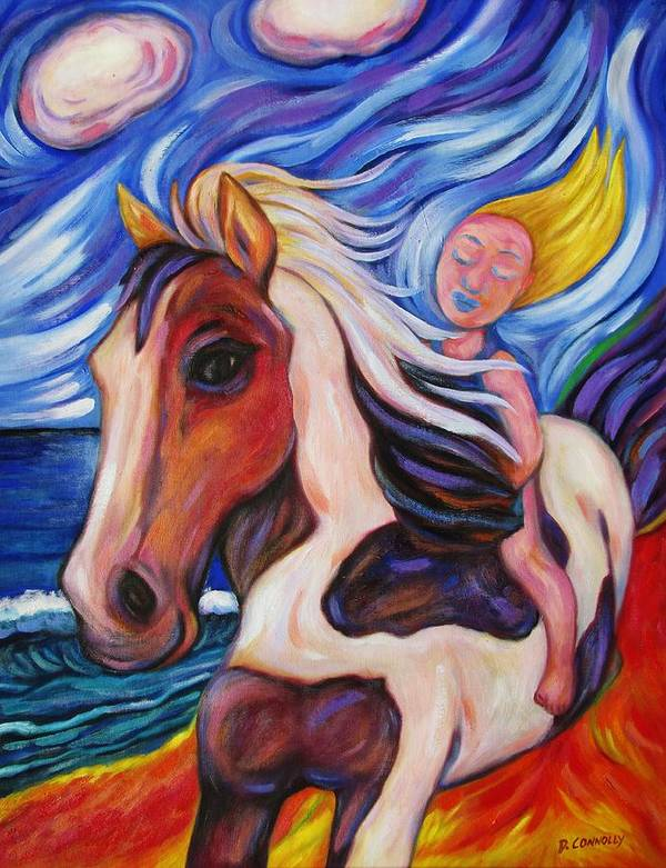 Diconnollyart Poster featuring the painting Gallop Along The Beach by Dianne Connolly