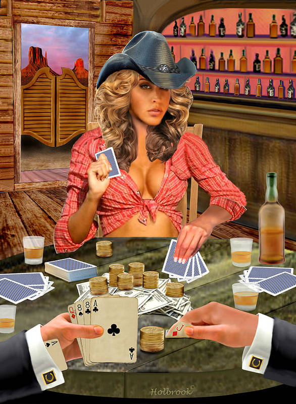 Female Gambler Poster featuring the digital art Gamblin' Cowgirl by Glenn Holbrook