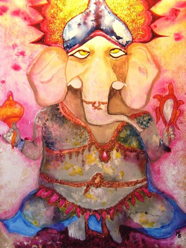 Paintings Poster featuring the painting Ganesh by Meshal Hardie