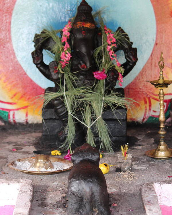 Ganesha Poster featuring the photograph Ganesha With Pink Flowers, Valparai by Jennifer Mazzucco