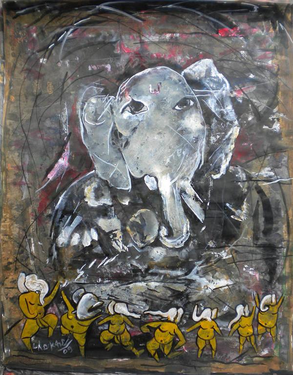 Shree Ganesh Poster featuring the painting Ganpati 4 by Aman Chakra