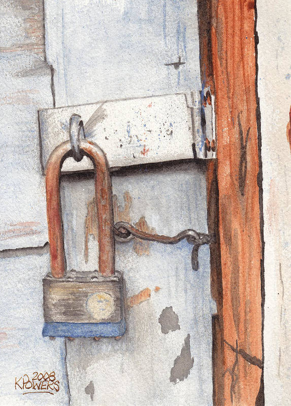 Lock Poster featuring the painting Garage Lock Number One by Ken Powers
