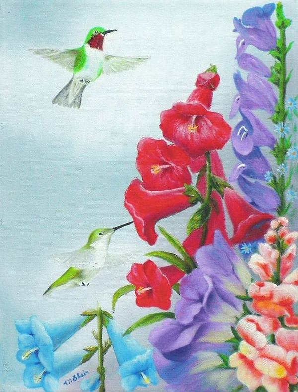 Birds Poster featuring the painting Garden Beauties by Merle Blair