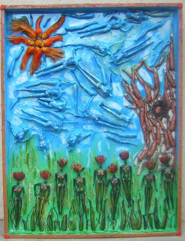 Life Poster featuring the painting Garden Of Eden Nature Overwhelming Itself by Michelley QueenofQueens