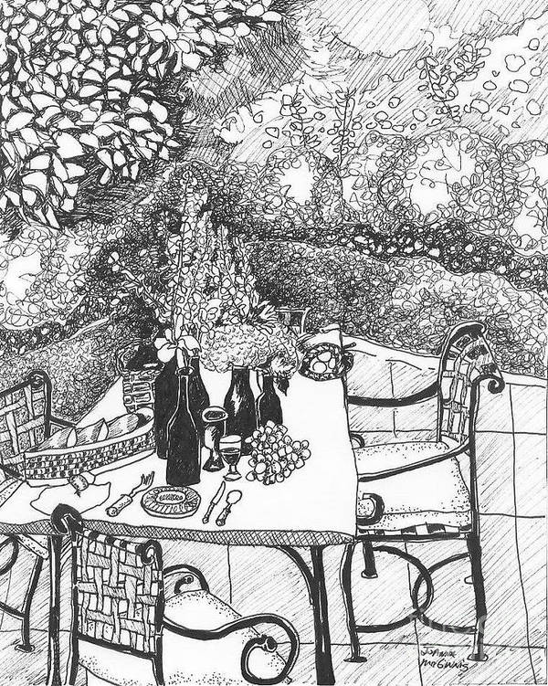 Still Life Poster featuring the drawing Garden Table by Jo Anna McGinnis