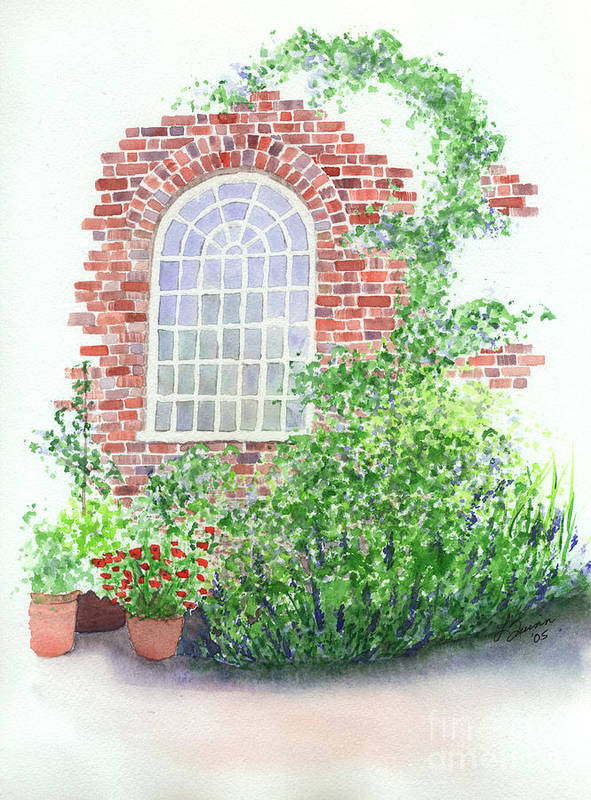 Window Poster featuring the painting Garden Wall by Lynn Quinn