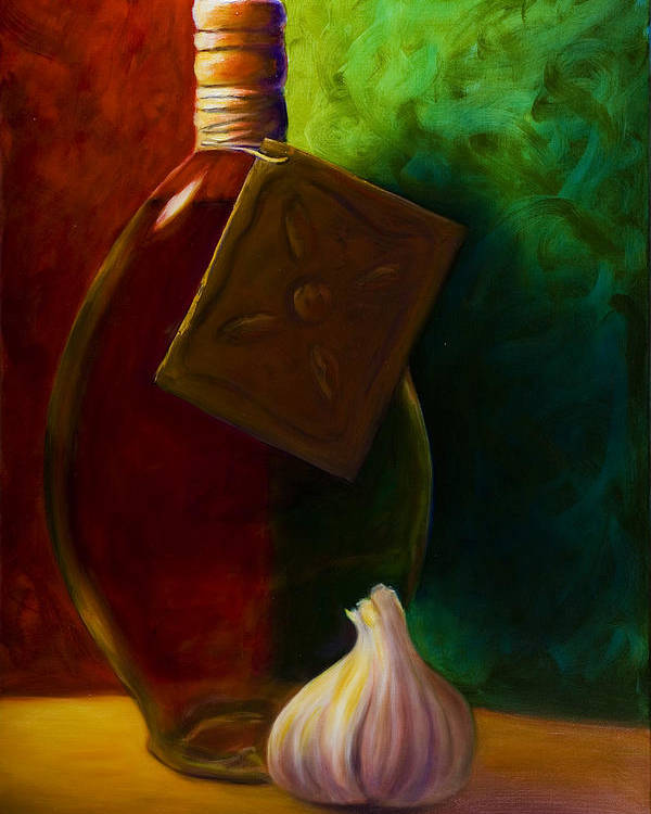 Shannon Grissom Poster featuring the painting Garlic And Oil by Shannon Grissom