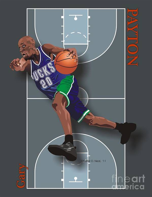 Portraits Poster featuring the digital art Gary Payton by Walter Oliver Neal