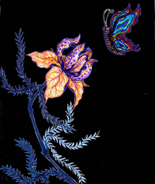 Flower Poster featuring the drawing Gathering Nectar On Black by Rae Chichilnitsky