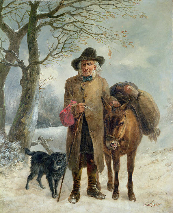 Gathering Poster featuring the painting Gathering Winter Fuel by John Barker