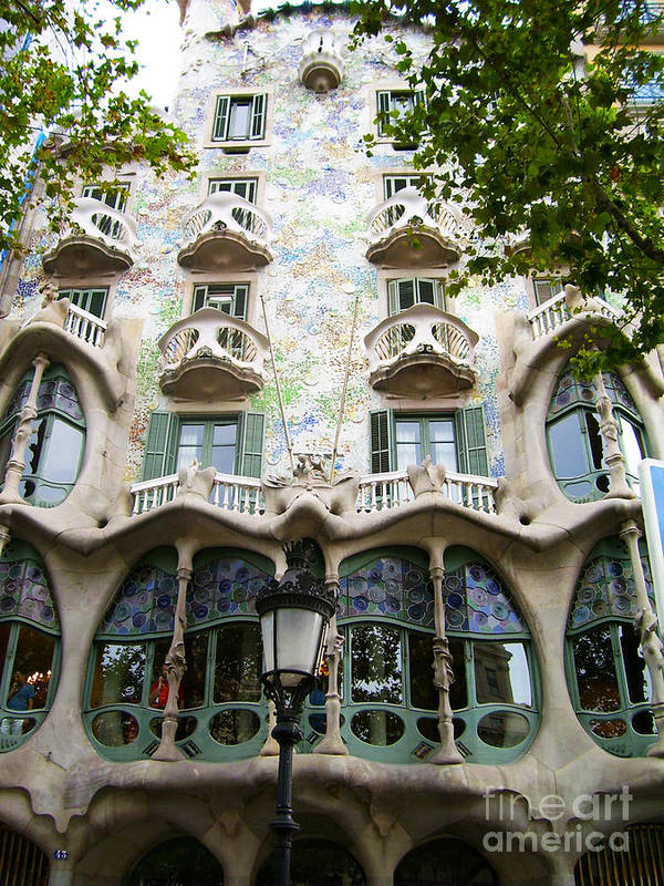 Mosaic Poster featuring the photograph Gaudi Architecture by Laura Kayon