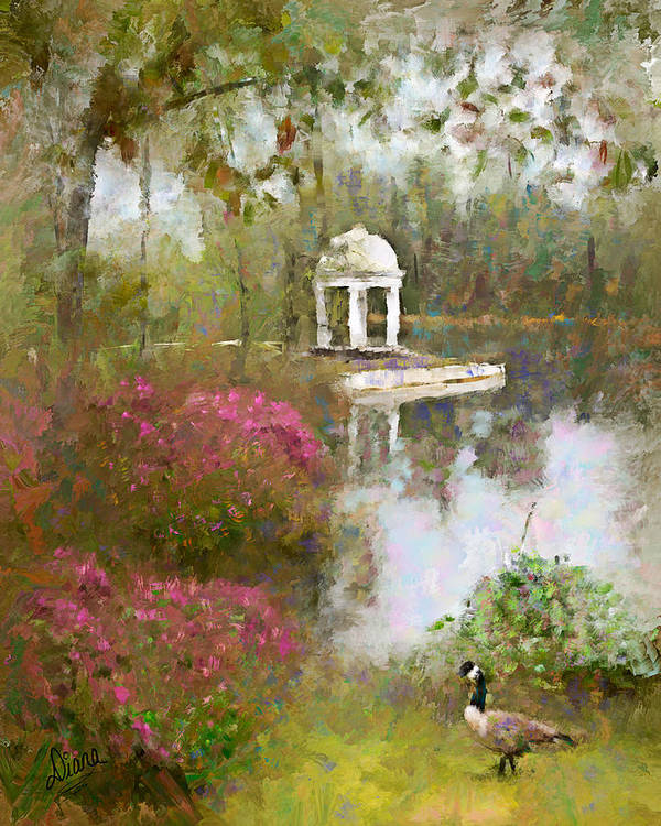 Gazebo Poster featuring the painting Gazebo At The Pond by Diana Ralph