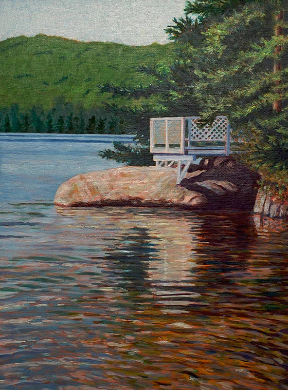 Thompson Lake Poster featuring the painting Gazebo On Thompson Lake by Jeff Toole