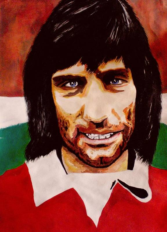 George Best Poster featuring the painting Gbest by Colin O neill