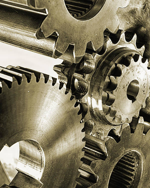 Gears Poster featuring the photograph Gears And Cogwheels In Antique Look by Christian Lagereek