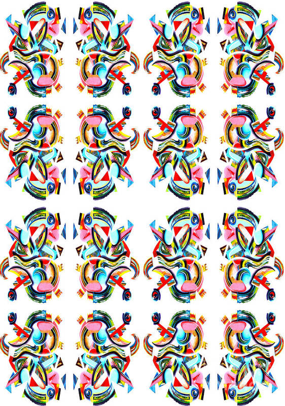 Gecko Pattern Poster featuring the tapestry - textile Gecko by Ky Wilms