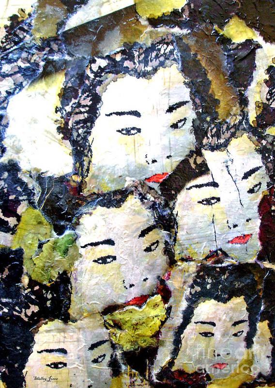 Geisha Girls Poster featuring the mixed media Geisha Girls by Shelley Jones