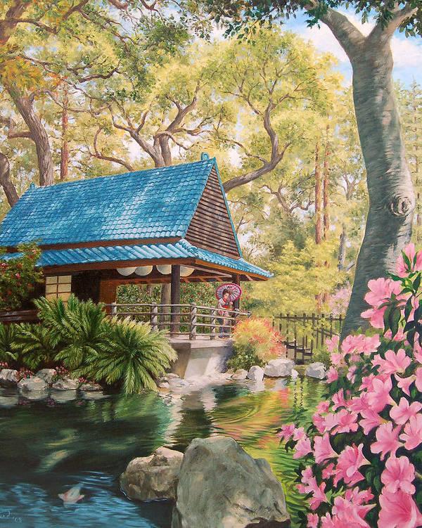 Geisha Japan Teahouse Koi Pond Garden Flowers Poster featuring the painting Geisha In A Japanese Garden by Johanna Girard