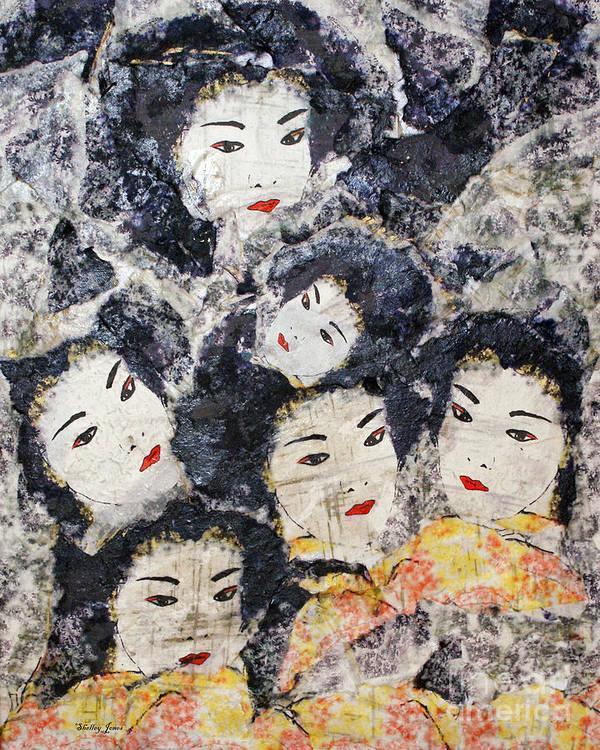 Geisha Poster featuring the mixed media Geisha by Shelley Jones