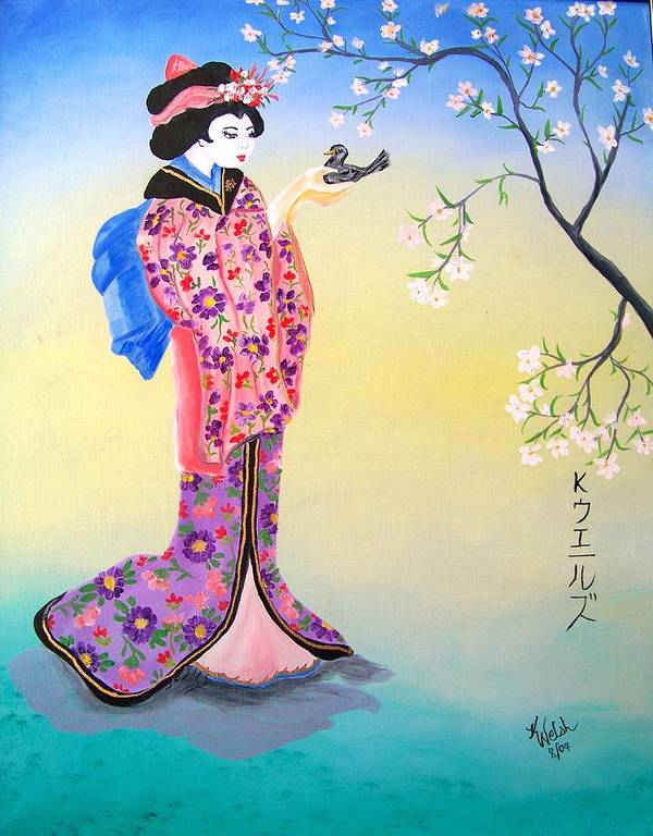 Geisha Poster featuring the painting Geisha with Bird by Kathern Ware