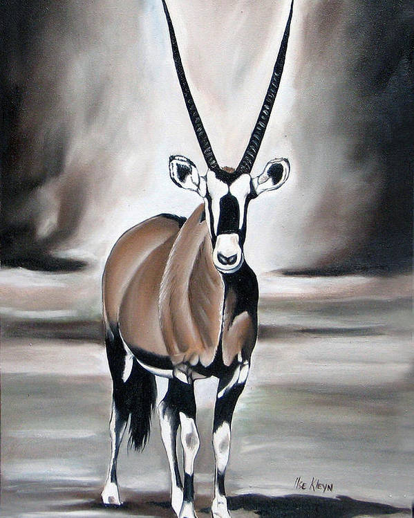Gemsbok Poster featuring the painting Gemsbok - Solitude by Ilse Kleyn