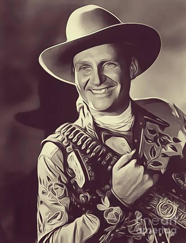 Gene Poster featuring the digital art Gene Autry, Vintage Actor/singer by John Springfield