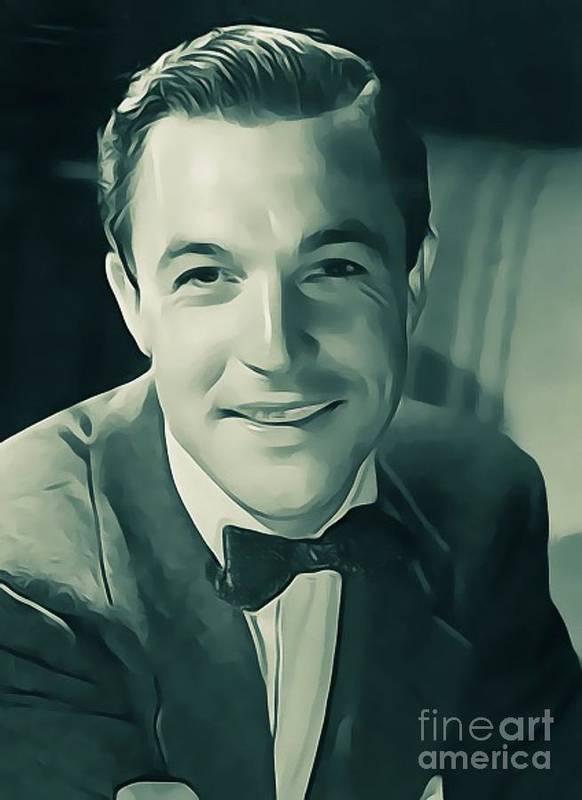 Gene Poster featuring the digital art Gene Kelly, Vintage Actor/dancer by John Springfield
