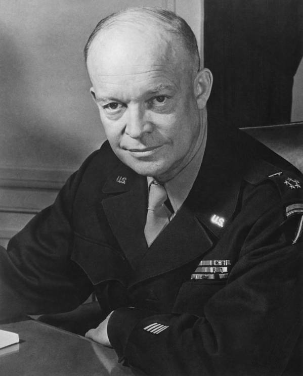 Dwight Eisenhower Poster featuring the photograph General Dwight Eisenhower by War Is Hell Store