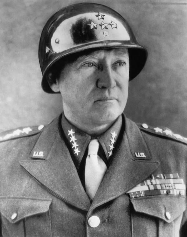 1940s Poster featuring the photograph General George S. Patton Jr. 1885-1945 by Everett