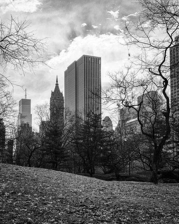 Central Park Poster featuring the photograph General Motors Building In Autumn, New York by S R Shilling