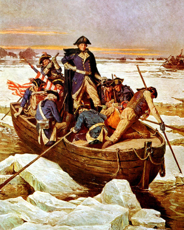 George Washington Poster featuring the painting General Washington Crossing The Delaware River by War Is Hell Store