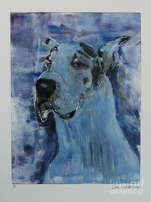 Great Dane Poster featuring the mixed media Gentle Giant by Cori Solomon