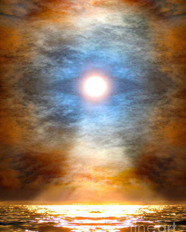 Sacred Art Poster featuring the painting Gentle Mantra Om Light Glowing Into The Sea by Wernher Krutein
