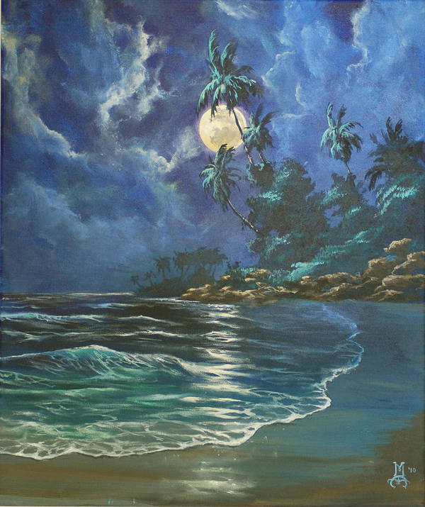 Seascape Poster featuring the painting Gentle Rhythms by Marco Antonio Aguilar