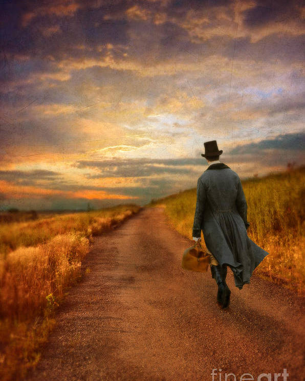Young Poster featuring the photograph Gentleman Walking On Rural Road by Jill Battaglia