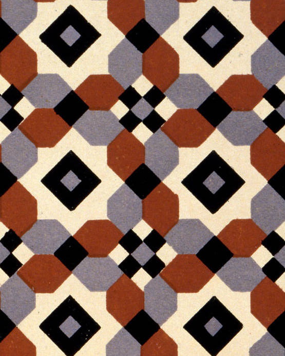 Pattern Poster featuring the painting Geometric Textile Design by English School