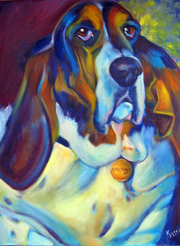 Bassett Hound Poster featuring the painting George The Bassett by Kaytee Esser