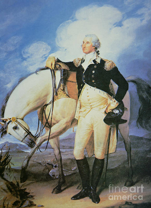 Male; Portrait; Full Length; Tricorn Hat; United States; Politician; Military; Horse; Battle; Battlefield; Hilltop; Officer; Soldier; American; 1st Poster featuring the painting George Washington by John Trumbull