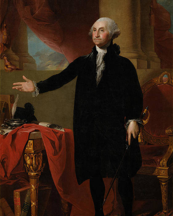 George Washington Poster featuring the painting George Washington Lansdowne Portrait by War Is Hell Store