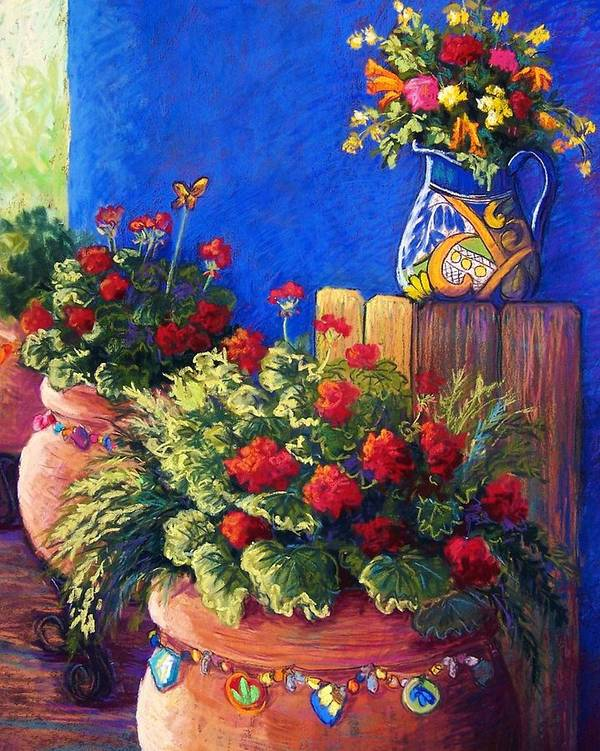 Garden Poster featuring the pastel Geraniums And Talavera by Candy Mayer