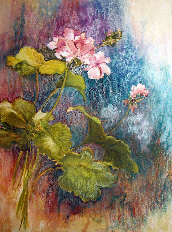 Mixed Media;geraniums;chalk;floral;flowers;contemporary; Poster featuring the mixed media Geraniums by Lois Mountz