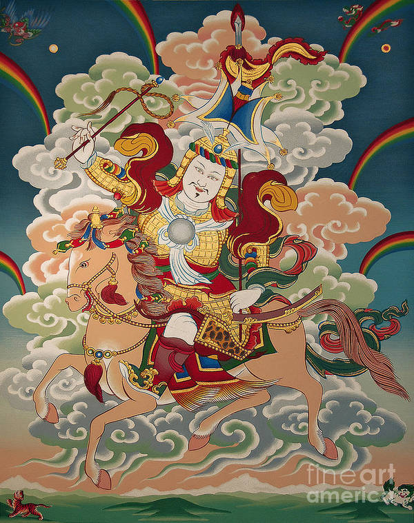 Thangka Poster featuring the painting Gesar Gyalpo by Sergey Noskov