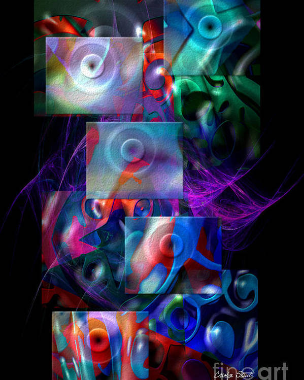 Abstract Color Abstract Realism Poster featuring the digital art Get It In Gear by Carolyn Staut