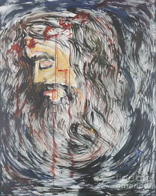 Jesus Poster featuring the painting Gethsemane To Golgotha IIi by Nadine Rippelmeyer