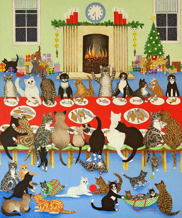 Christmas Poster featuring the painting Getting Together by Pat Scott