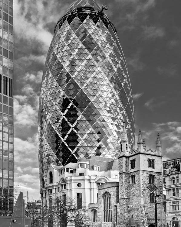 City Of London Poster featuring the photograph Gherkin And St Andrew's Black And White by Gary Eason